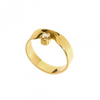 Gouden ring met diamantje