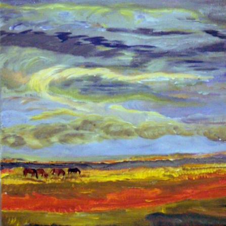 Paarden in landschap