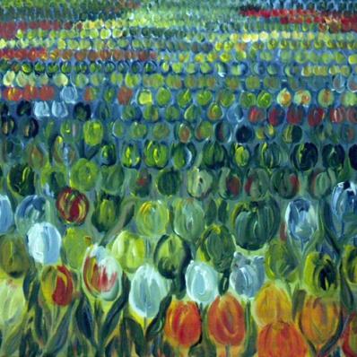 Tulpen op rij
