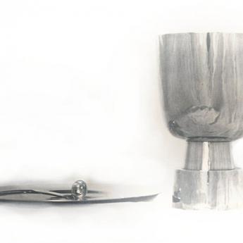 Zilveren kelk, pateen en lepeltje